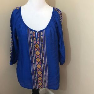Umgee Small Blouse popover Scoop neck Boho